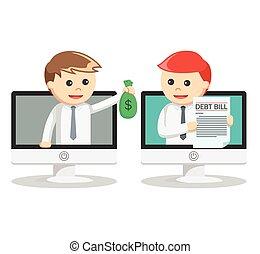 לשלם, איש, חוב, עסק, אונליין