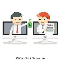 לשלם, איש, מס, עסק, אונליין