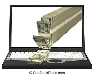 לשפוך כסף, דוגמה, מחברת, computer., out, 3d