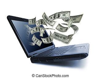לשפוך, מחשב של מחברת, out, כסף