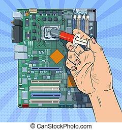 לתקן, אומנות, upgrade., motherboard., קפוץ, העבר, ציוד, פי.סי, וקטור, דוגמה, תחזוקה, זכר, מחשב, מעבד מרכזי, הנדס