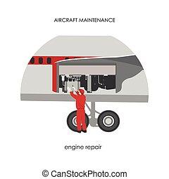 לתקן, מכונאי של מנוע, aircraft., תחזוקה, מטוס