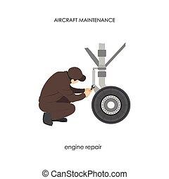 לתקן, תקן, gear., נחיתה, מטוס, תחזוקה, מטוס, הנדס