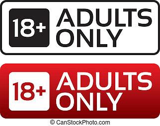 מבוגרים, הזדקן, button., stamp., תוכן, רק, הגבל