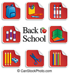 מדבקות, בית ספר, תפוח עץ, השקע
