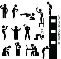 מדכא, התאבד, אנשים, עצוב, הרוג, איש