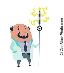 מדען, וקטור, stereotype., מעבדה, lab., פרופסור, דוגמה, coat., לבן, מטורף, רקע, משוגע, הפרד, רופא, מעבדה, חקור, קללה, scientist.