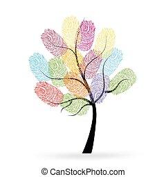 מדפיס, עץ, אצבע, צבעוני