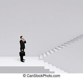 מדרגות, איש עסקים עומד
