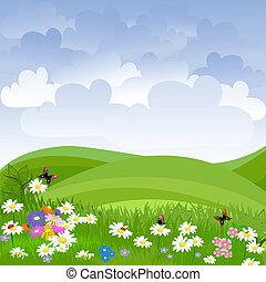 מדשאה, פרחים, נוף