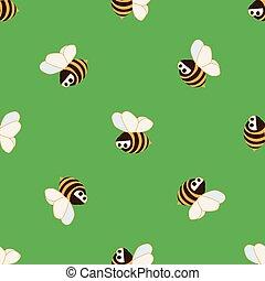 מואר, רקע, ציור היתולי, דבורות, כועס, ירוק, מצחיק, ילדים, seamless, pattern., תפוז, וקטור