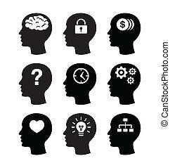 מוח, ראש קובע, vecotr, איקונים