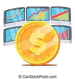מוניטורים, vector., מטבע, גרף, concept., דולר, הפרד, דוגמה, trend., תרשים, בנקאות, להחליף, כסף., לבן, השקעה