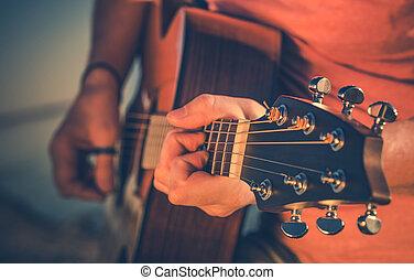 מוסיקאי, לשחק, זכר, guitar., אקוסטי
