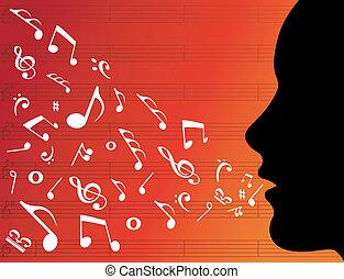 מוסיקה, הובל, אישה, צללית, רואה