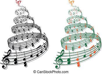 מוסיקה, וקטור, עץ, רואה