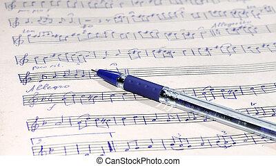 מוסיקה, כתוב, דף