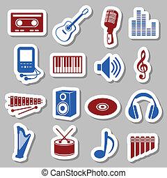 מוסיקה, מדבקות