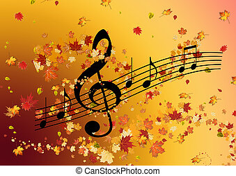 מוסיקה, מוסיקלי, leaves., רואה, רקע., soul., טרבל, לפול, כלאף, סתו