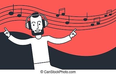 מוסיקה מקשיבה, לרקוד., איש