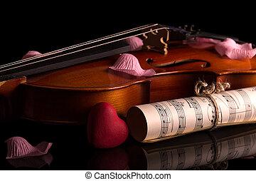 מוסיקה, עלה, כינור, עלהי כותרת, הפרד, שחור, רואה