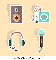מוסיקה, צל, מדבקות