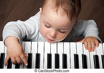 מוסיקה, שחק, מקלדת של פסנתר, תינוק