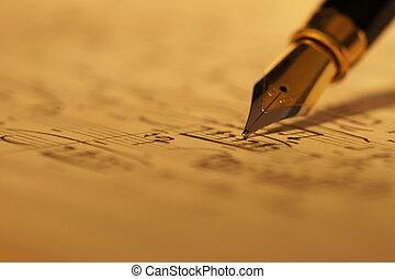 מוסיקה של דף, כתוב, מזרקה