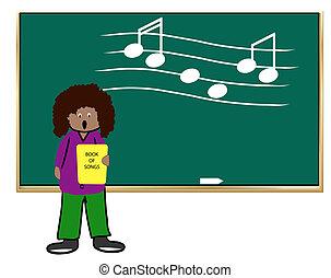 מוסיקה, -illustration, סוג, אישה, אתני, ללמד