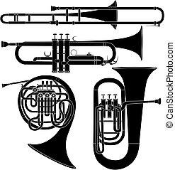 מוסיקלי, וקטור, כלים של פליז