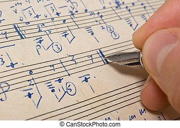 מוסיקלי, רקע, -, מוסיקה של דף, כתוב, העבר
