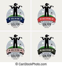 מועדון, לוגו, גולף, design.