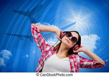 מורכב, מוסיקה, רגוע, ברונט, דמות, להקשיב