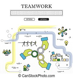 מושג, גרפי, &, וקטור, שיתוף פעולה, התחבר, ציור של קו