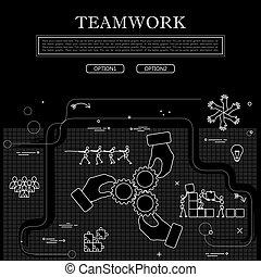 מושג, גרפי, &, וקטור, שיתוף פעולה, white., התחבר, שחור, ציור של קו
