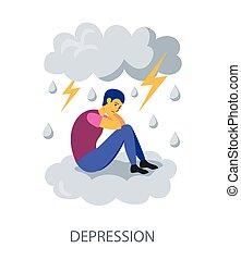 מושג, דירה, דיכאון, רקע לבן, עצב