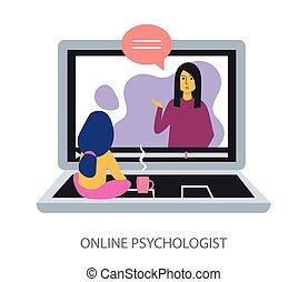 מושג, דירה, פסיכולוג, רקע לבן, אונליין, עצב