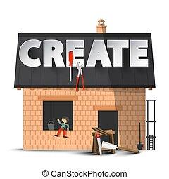מושג, דיר, יצירתיות, create., הפרד, רקע., וקטור, ד.י.י., בניה, לבן