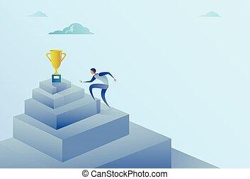 מושג, הצלחה, עסק, חפון, מנצח, לטפס במדרגות, איש