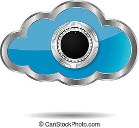 מושג, לחשב, הפרד, רקע., ענן לבן, design.
