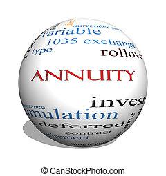 מושג, מילה, annuity, כדור, ענן, 3d
