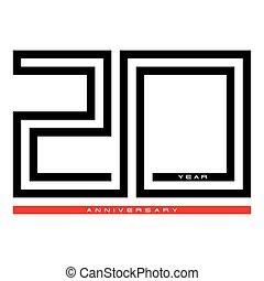 מושג, עשרים, יום שנה, וקטור, עצב, שנה, לוגו, 20, חגיגה