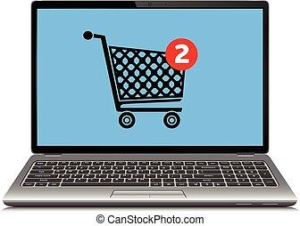 מושג, קניות, מחשב נייד, מודרני, דוגמה, וקטור, אונליין