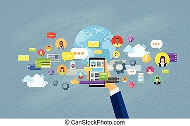 מושג, רשת, תקשורת, העבר, פלאפון, סוציאלי, החזק, חכם