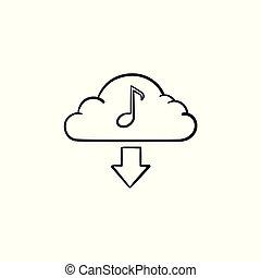 מושג, תאר, שרבט, העבר, מוסיקה, צייר, icon., ענן