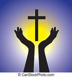 מושג, graphic., צהוב, ישו, כחול, ישו הנוצרי, שמש, להחזיק, אלוהים, לסגוד, נוצרי, קדוש, להראות, דוגמה, cross-, אדוק, רקע, נאמן, אמונה, זה, בן אדם, וקטור