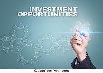 מושג, screen., הזדמנויות, השקעה, בעצם, איש עסקים, ציור