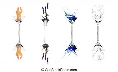 מושלם, ארבעה יסודות, השתקפות, פטר, הבלט, השקה צמח, משקפיים של מרטיני