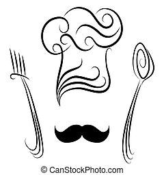 מזלג, טבח, כף, כובע
