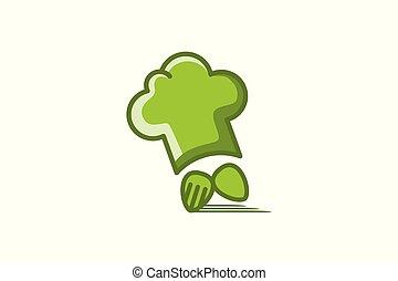 מזלג, טבח, משלוח מהיר, כף, כובע, לוגו